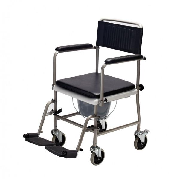 TSU Toilettenrollstuhl, Sitz- und Rückenpolster schwarz