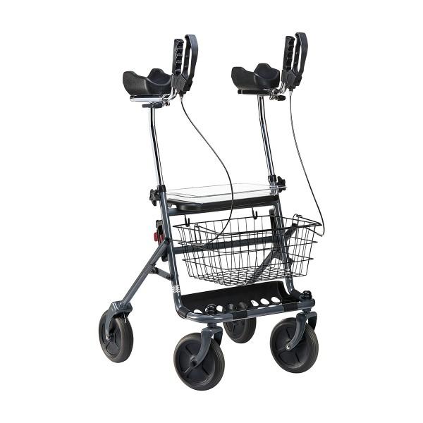 Rollator Fakto+ Arthritis, Mangan Grey Metallic m. Sitz, Tablett, Einkaufskorb