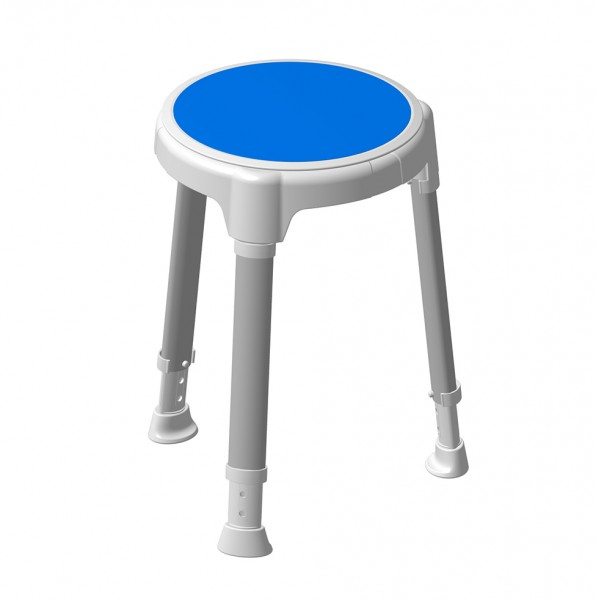 TAYO Duschhocker rund, Drehteller blau, Stuhlbeine Silber