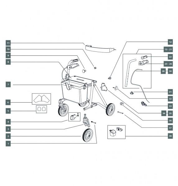 Räder/Bereifung/Radgabel,Sitz/Rückenbügel
