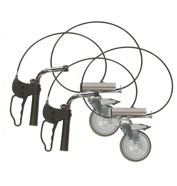 """Handbremse mont., zwei Bremshebel, Hinterräder 5""""/125 mm + Richtungssperre"""