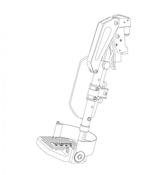 Beinstütze BW, li., SB 36-40, waagerecht verstellb., Fußplatten winkelbar