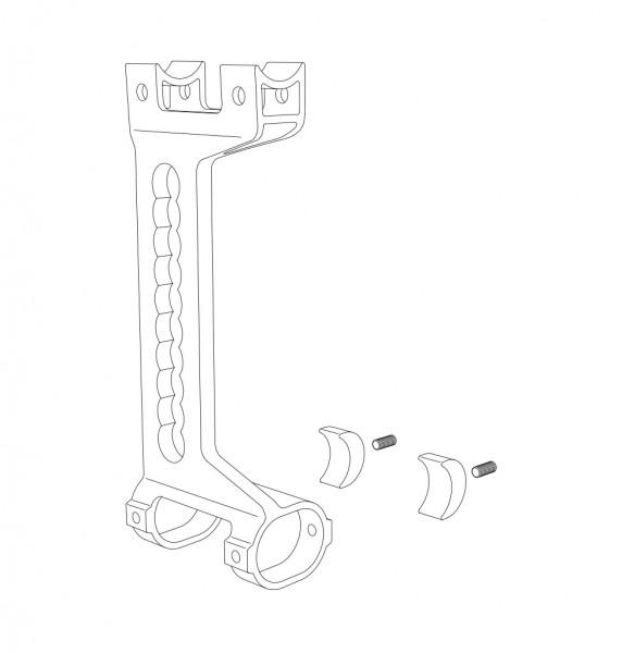 Adapterplatte, Antriebsrad, rechts, silber eloxiert, kplt.