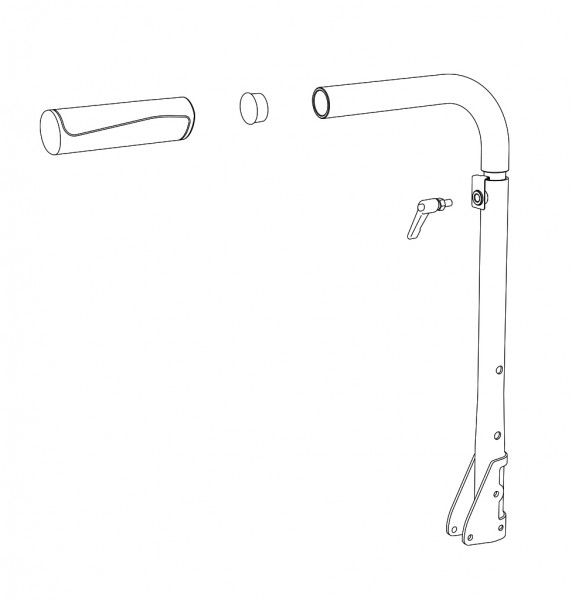 Schiebegriff höhenverstellbar, rechts, RH (35)38 cm