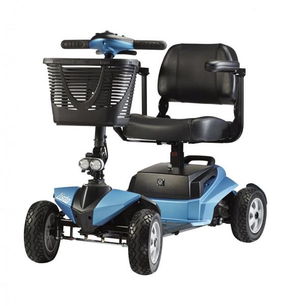 listo mit Licht, BECHLE Scooter, 6 km/h, blau, Federung, teilbar, mit Korb &