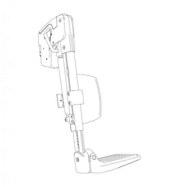 Beinstütze BW, rechts, Fußplatte winkelbar/hochklappbar, Wadenpolster