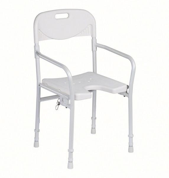 Duschstuhl 9400-A mit Arml. und Rückenl. höhenverstellbar, faltbar ohne Soft Pad