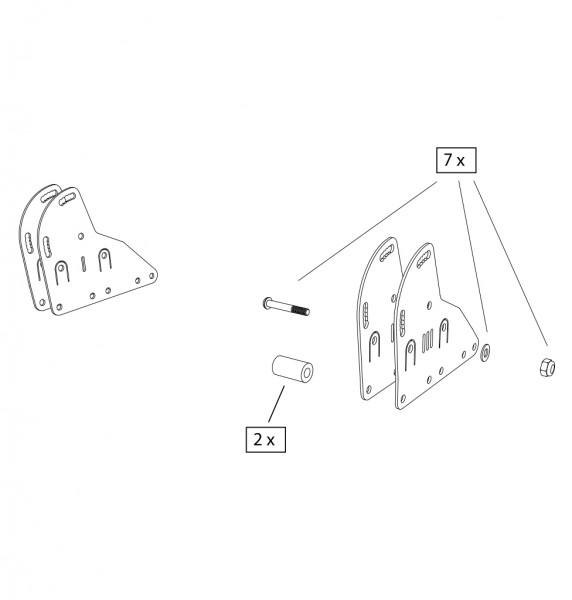 Verbindungsplatten, Alu ,Seitenrahmen/ Schiebegriff, schwarz, ST 39-45 cm, Paar